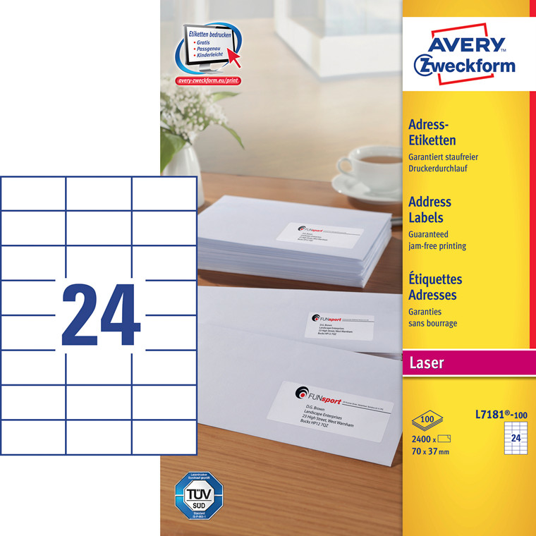 Avery L7181 - Laserlabel 24 pr. ark 70 x 37 mm - 100 ark