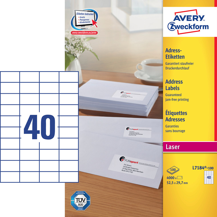 Avery L7184 - Laser label 40 pr. ark 52,5 X 29,7 mm - 100 ark