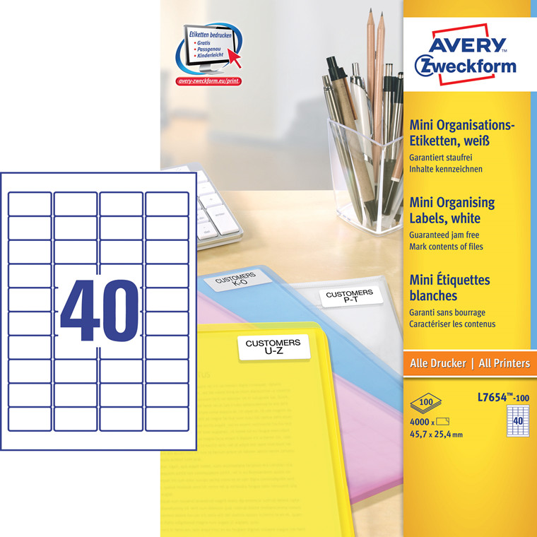 Avery  L7654-100 - Laserlabel 40 pr. ark 45,7 x 25,4 mm - 100 ark
