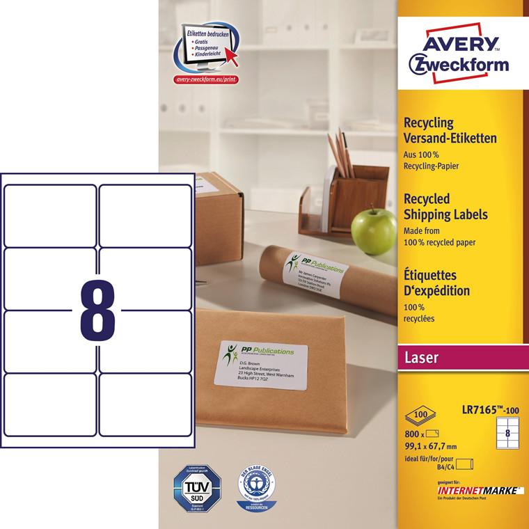 Avery  LR7165 - Laser etiket 8 pr. ark 99,1 x 67,7 mm - 100 ark