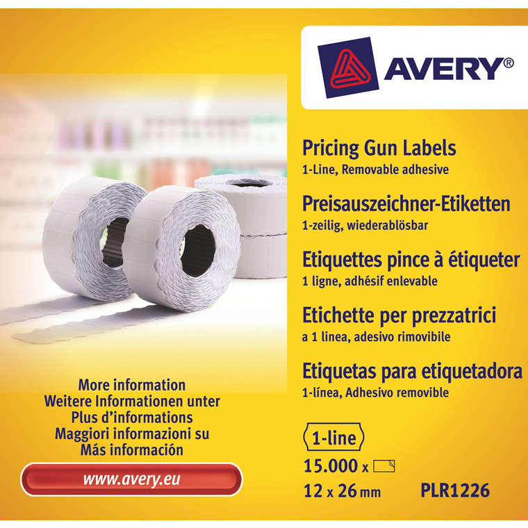 Avery PLR1226 - Prisetiketter 26 x 12 mm aftagelig hvid 1 linje - 15000 stk