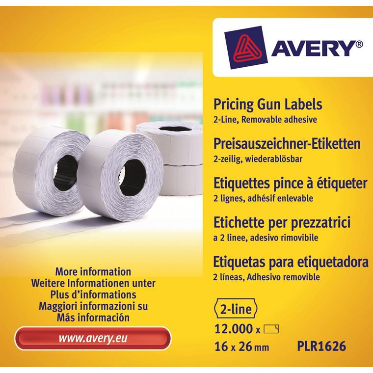 Avery PLR1626 - Pris etiketter 26 x 16 mm aftagelig hvid 2 linjer - 12000 stk