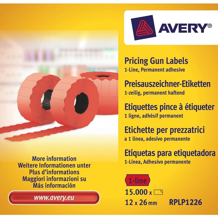 Avery RPLP1226 - Prisetiketter 26 x 12 mm rød 1 linje - 15000 stk