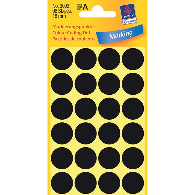Manuelle etiketter Avery 3003 sort Ø: 18 mm - 96 stk