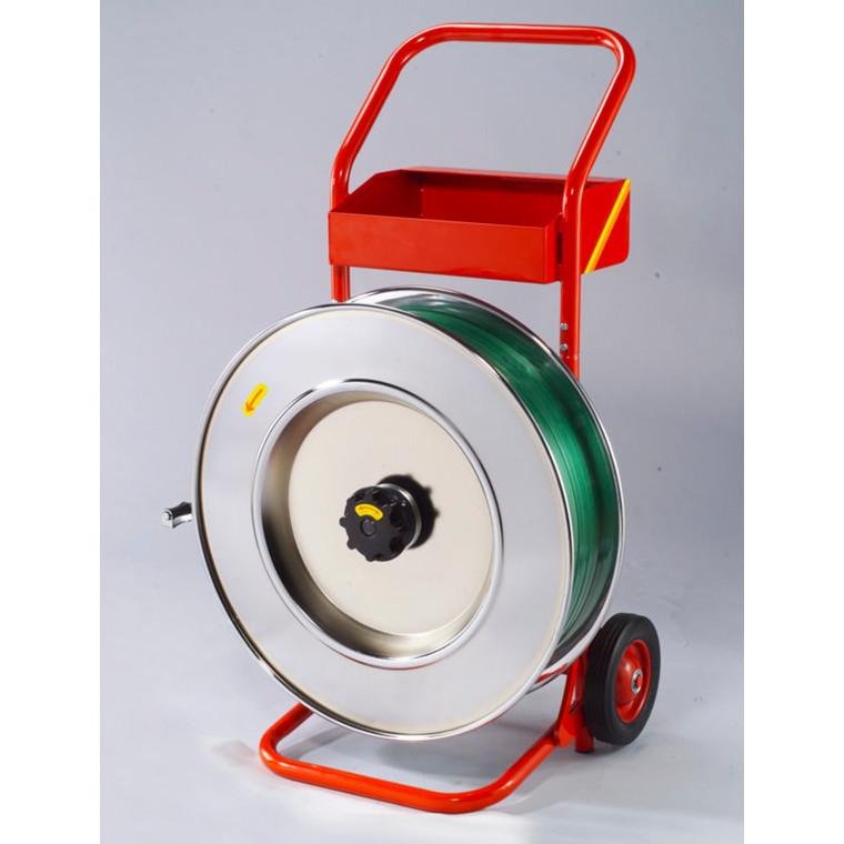 Båndvogn i rød til stål og plastbånd - med 406 mm kerne