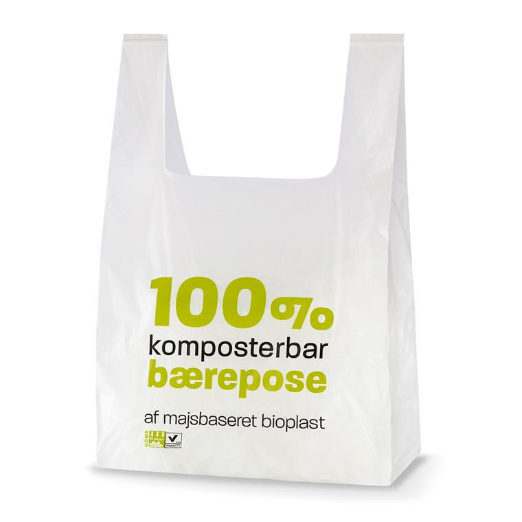 Bærepose bioplast hvid 14my 280 70x500mm - 500 stk