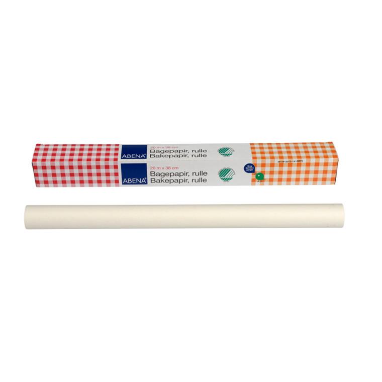 Bagepapir, Abena DK, i æske, bleget greaseproof papir, 38 cm x 20 m, 40g/m2, 1ark/pk.