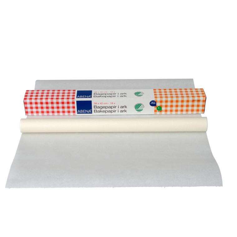 Bagepapir, Abena DK, i æske, bleget greaseproof papir, 38 cm x 42 cm, 40g/m2, 18ark/pk.