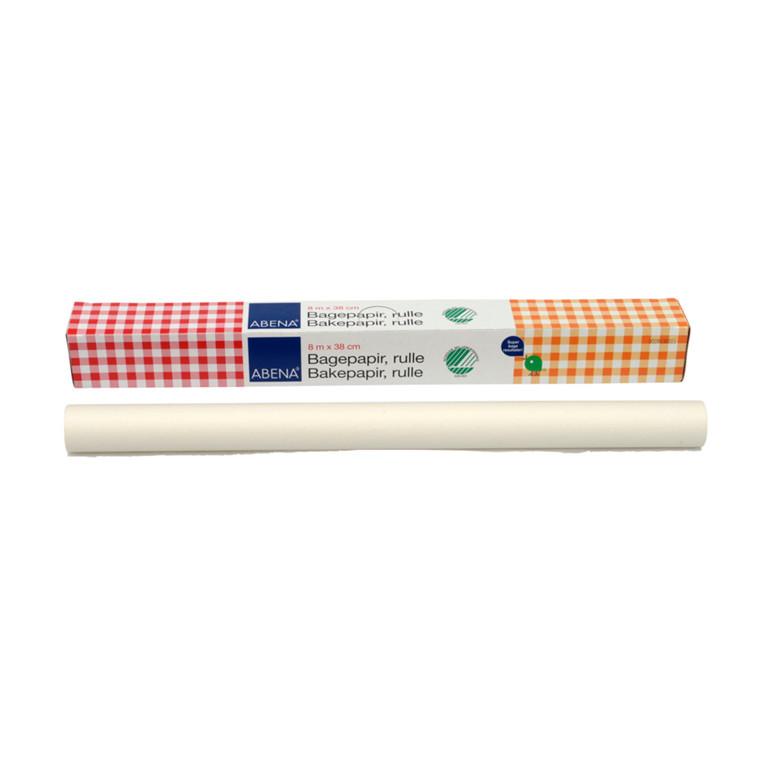 Bagepapir, Abena DK, i æske, bleget greaseproof papir, 38 cm x 8 m, 40g/m2, 1ark/pk.