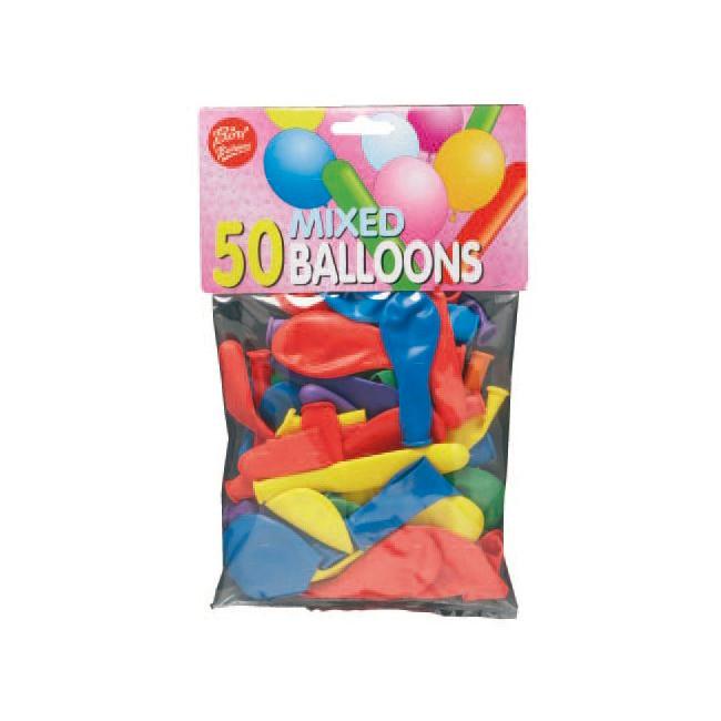 Balloner - Assorteret runde og lange - pose med 50 stk