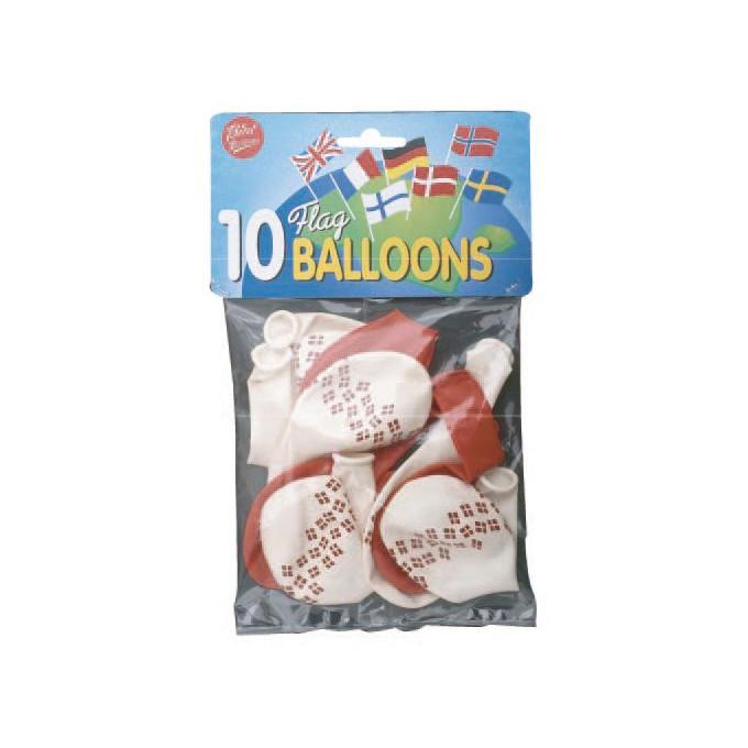 Balloner - Runde med flag - pose med 10 stk