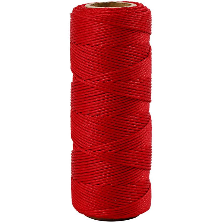 Bambussnor, tykkelse 1 mm, rød, 65m