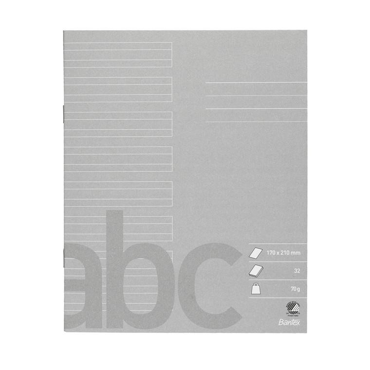 Bantex skolehæfte 17 x 21 cm - Grå linjeret med 24 linjer - 32 sider