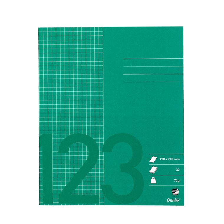 Bantex Skolehæfte 17 x 21 - Græs grøn kvadreret 5 x 5 mm tern - 32 sider