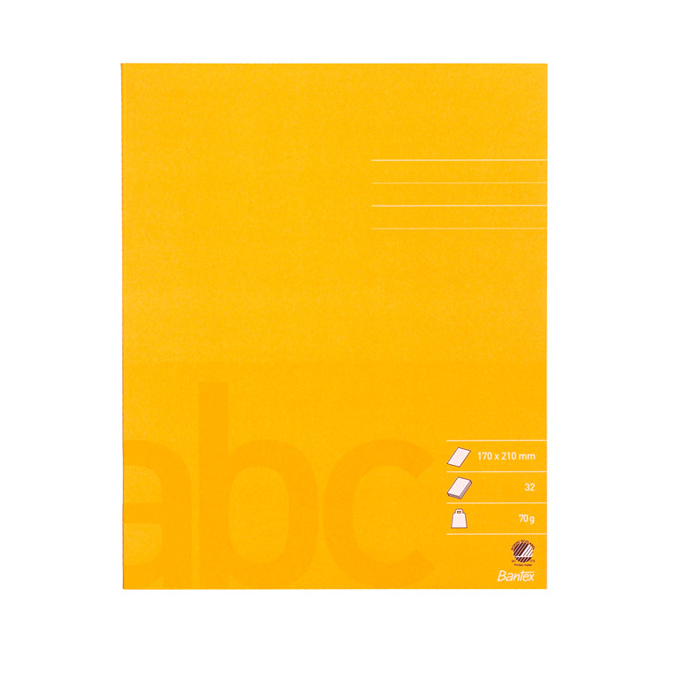 Bantex Skolehæfte gul - 17 x 21 cm ulinjeret blank - 32 sider