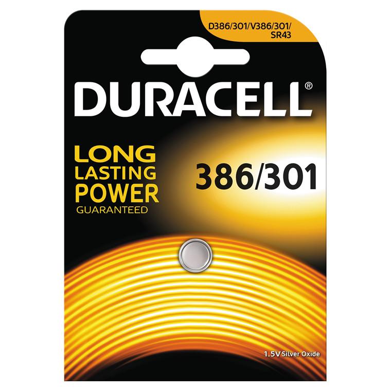 Batteri Duracell 386/301 1,5V Silver Oxide 1stk/pak
