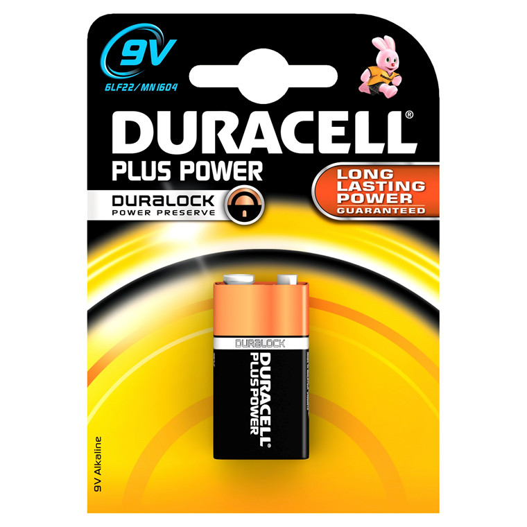 Batteri 9V Duracell Plus Power - 1 stk i en pak