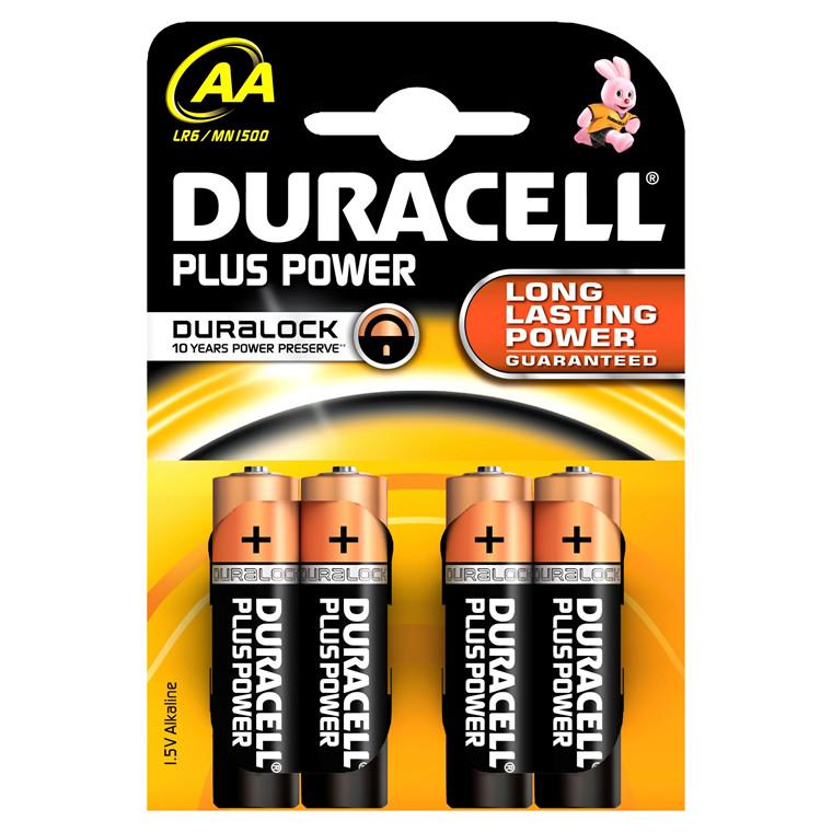 Batteri Duracell Plus Power - AA 4 stk i en pakke