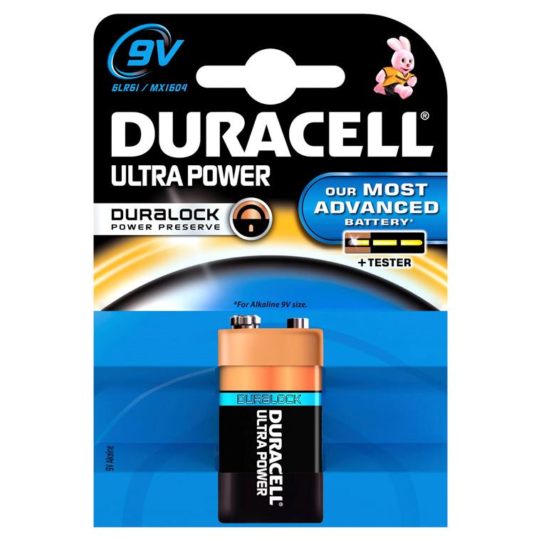 Batteri Duracell Ultra Power - 9 V 1 stk pr. pak