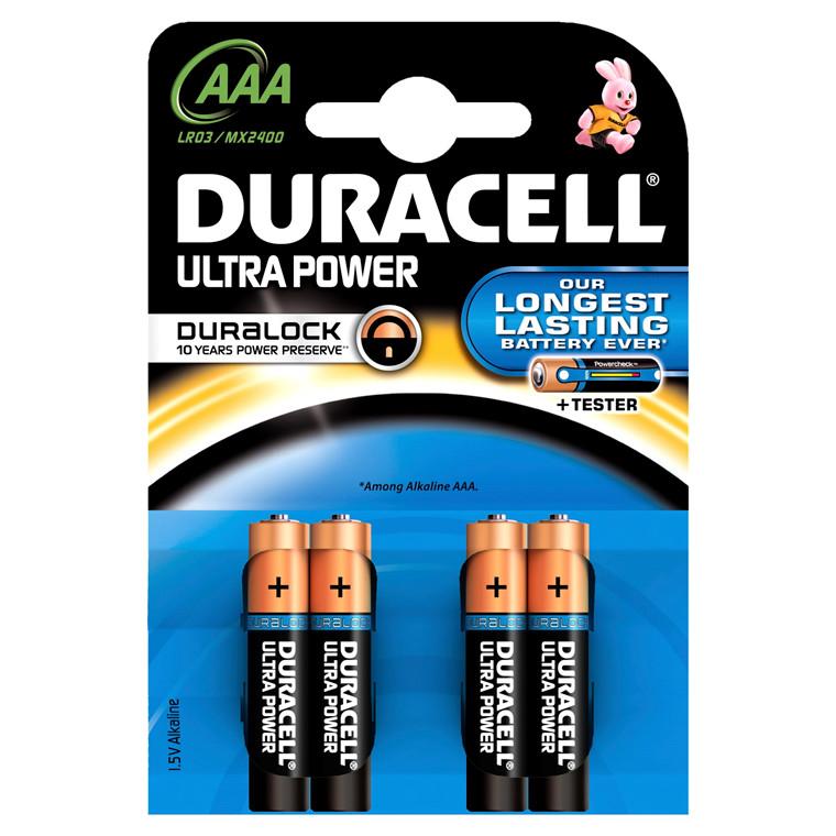 Batteri Duracell Ultra Power - AAA 4 stk i en pk