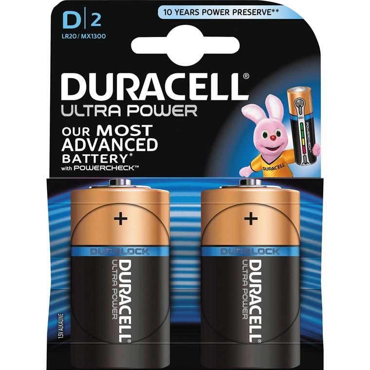 Batteri Duracell Ultra Power D alkaline m/tester 2st/pkt