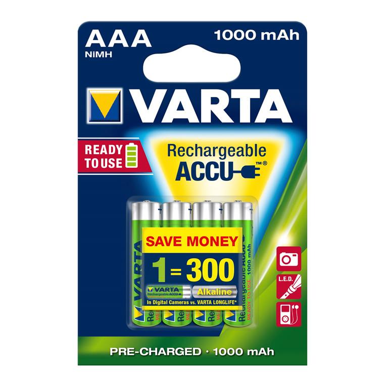 Batteri Varta AAA genopladelig - 1,2V HR3 R2U 1000 mAh 4 stk i en pak