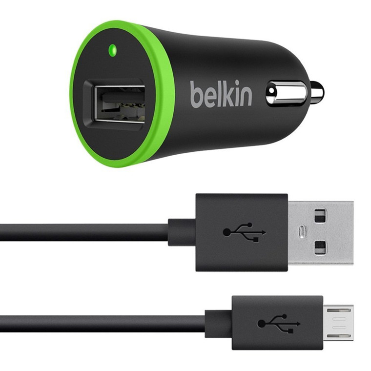 Belkin Micro Car Charger 2.1A w/Micro USB Cable, Black