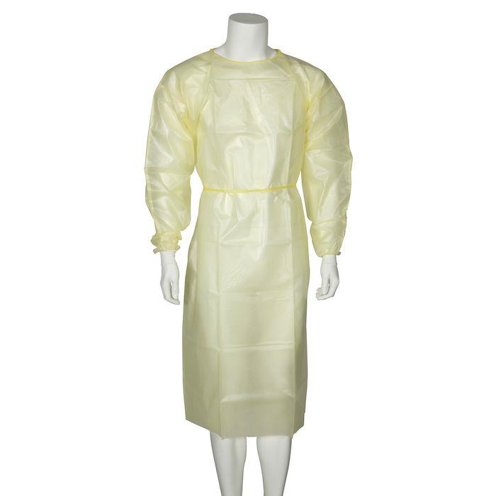 Beskyttelseskittel, Abena, med jersey manchet, usteril, gul, large