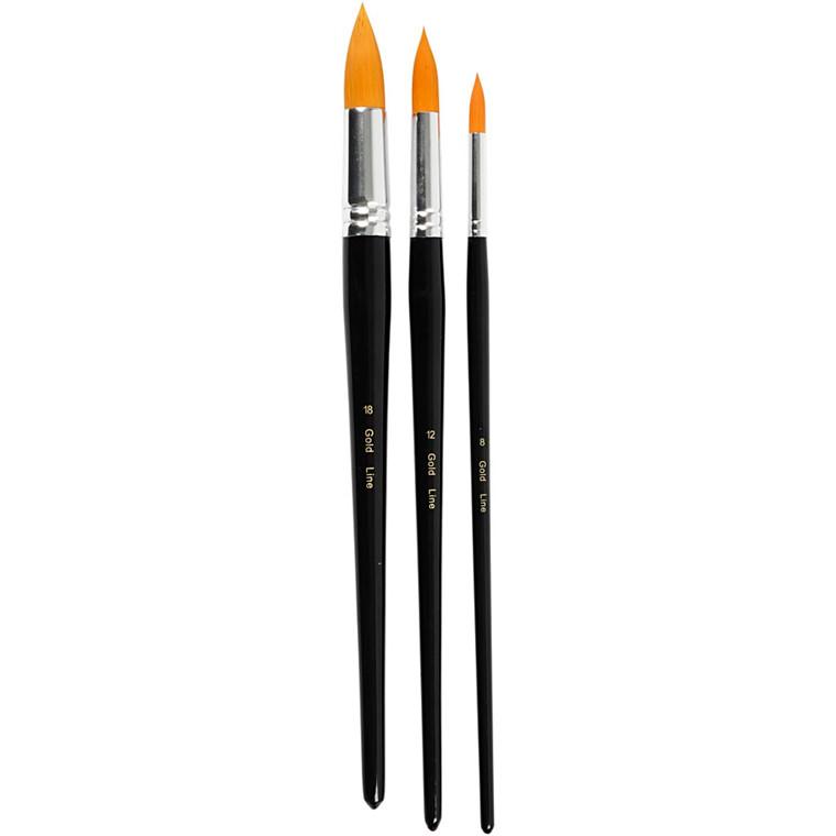 Big Size - Gold Line Pensel L: 31,5+33+33 cm B: 8+12+18 mm rund - 3 assorteret stk.