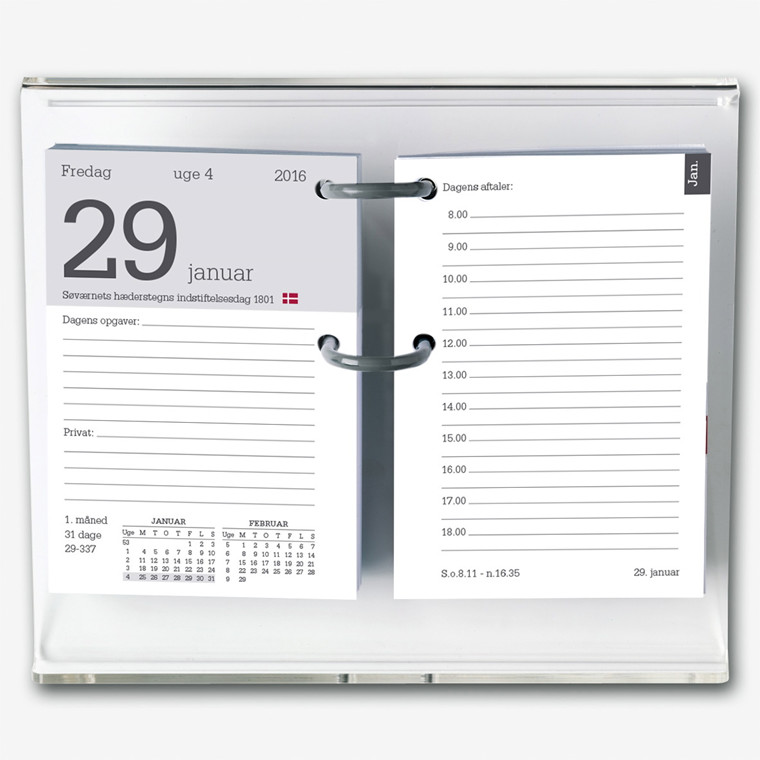 Blokkalender m/huller 8x12cm ekskl. stativ 1400 00