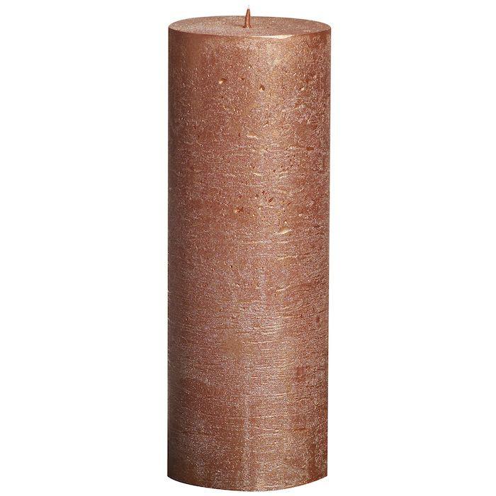 Bloklys, Bolsius, rustik, kobber, 65 timer, 19 cm, Ø6,80 cm