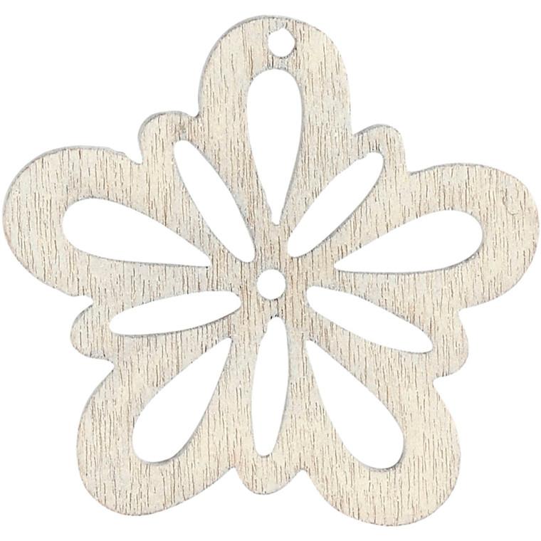 Blomst, dia. 27 mm, tykkelse 1,7 mm, hvid, 20stk.
