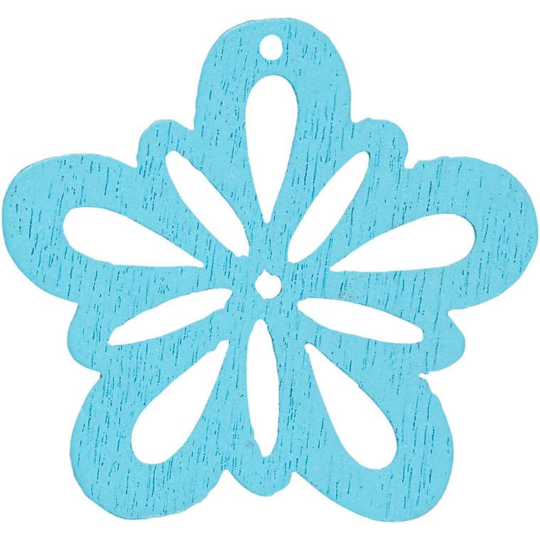 Blomst, dia. 27 mm, tykkelse 1,7 mm, lys turkis, 20stk.