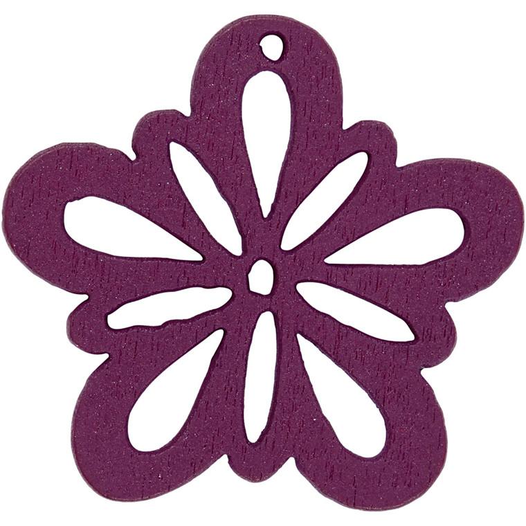 Blomst, dia. 27 mm, tykkelse 1,7 mm, mørk lilla, 20stk.