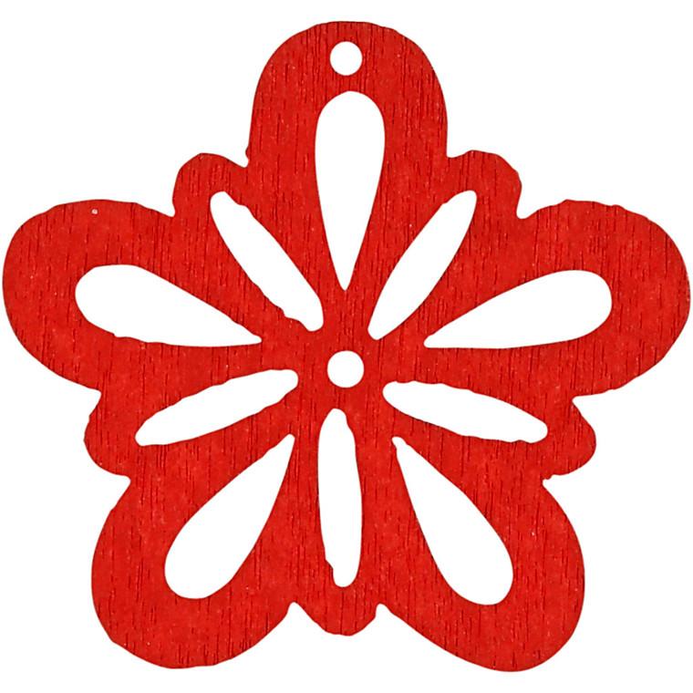 Blomst, dia. 27 mm, tykkelse 1,7 mm, rød, 20stk.