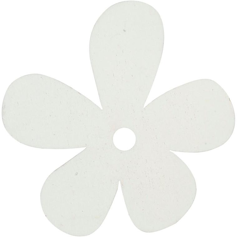 Blomst, str. 57x51 mm, tykkelse 2 mm, hvid, 10stk.
