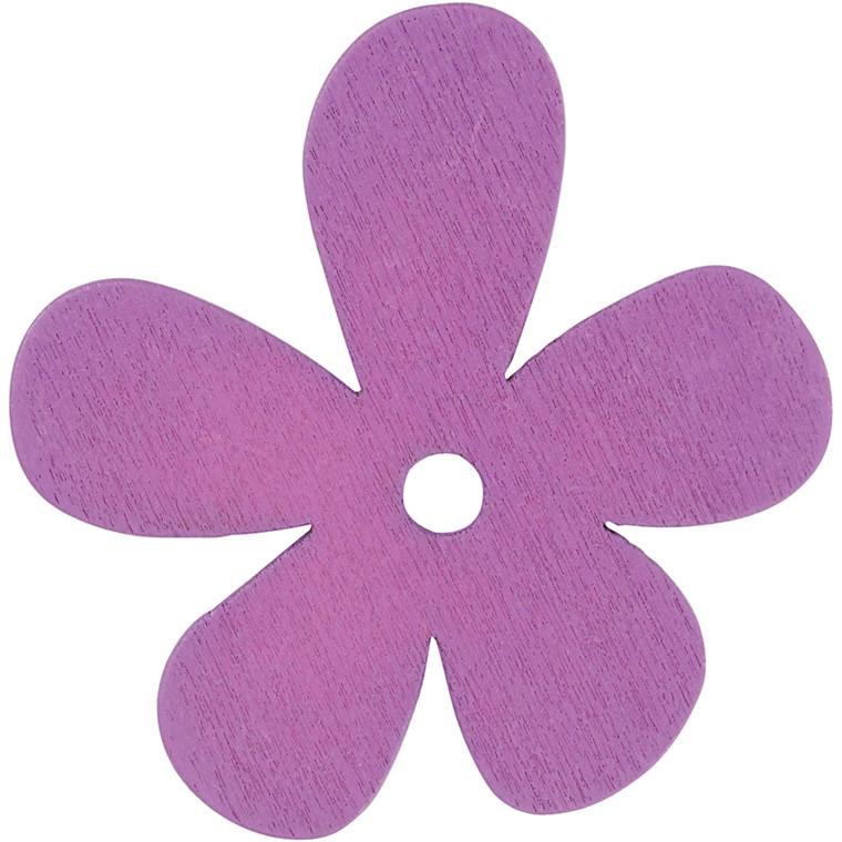 Blomst, str. 57x51 mm, tykkelse 2 mm, lilla, 10stk.