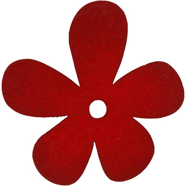 Blomst, str. 57x51 mm, tykkelse 2 mm, vinrød, 10stk.