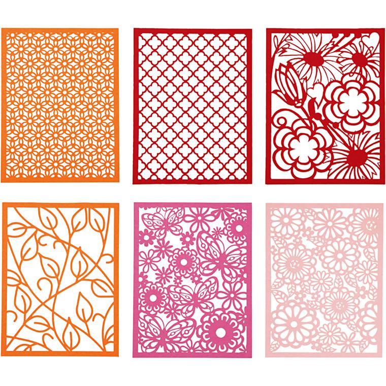 Blondekarton i blok, A6 104x146 mm, 200 g, orange, pink, rosa, rød, 1stk.