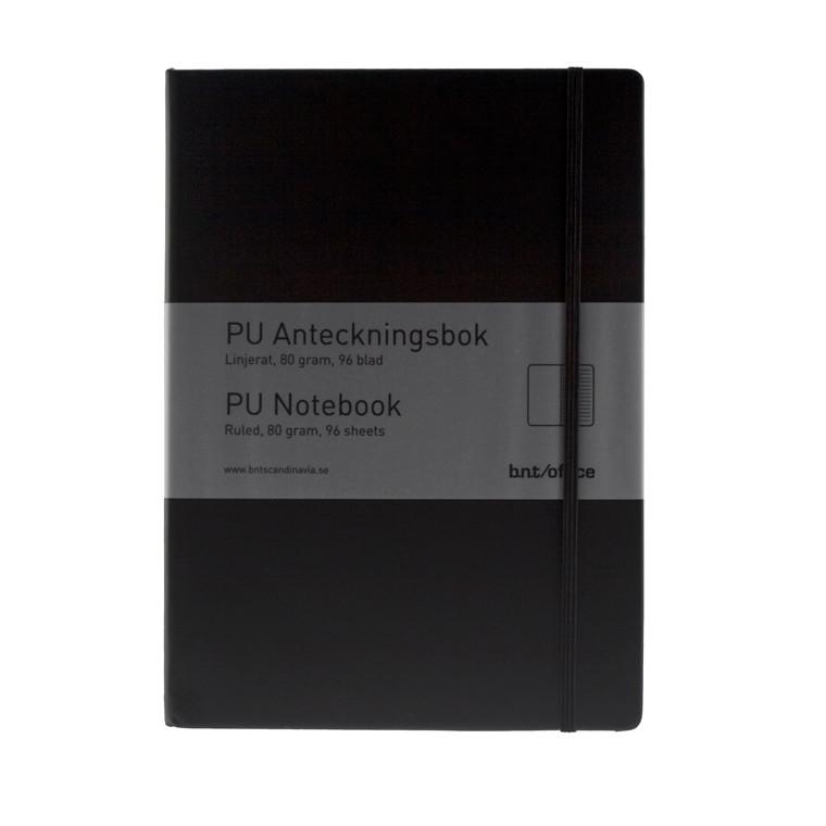 BNT Notesbog A4 sort kunstlæder omslag med linjeret papir - 96 sider