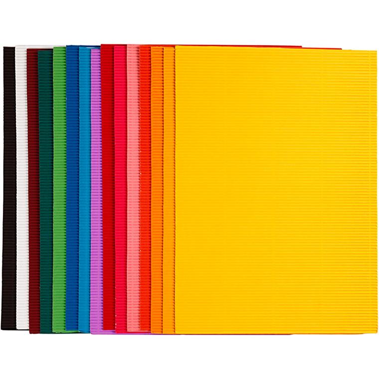 Bølgekarton, ark 25x35 cm, 80 g, 15ass. ark