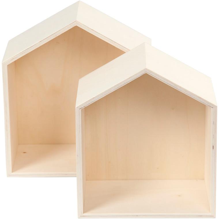 Bogkasser hus højde 22,5 + 25 cm bredde 19,5 + 22,5 cm krydsfiner dybde 12,5 cm | 2 stk.