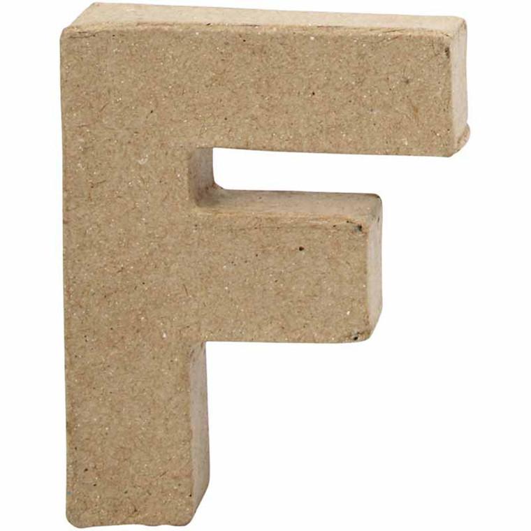 Bogstav papmaché højde 10 cm F | Bredde 7,6 cm