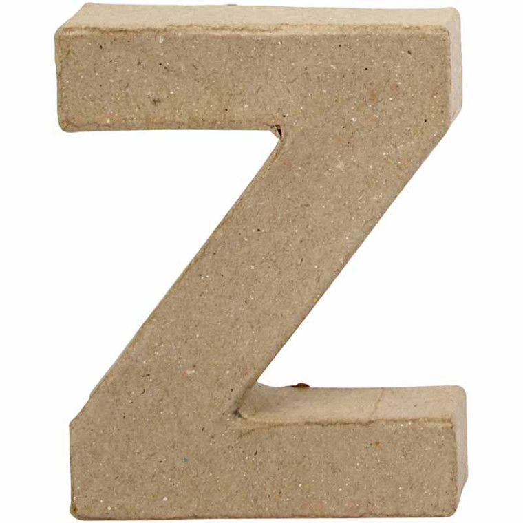 Bogstav papmaché højde 10 cm Z | Bredde 7,5 cm