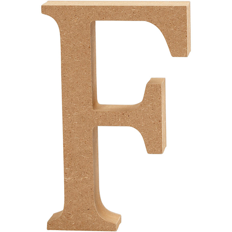 Bogstav, H: 8 cm, tykkelse 1,5 cm, MDF, F, 1stk.