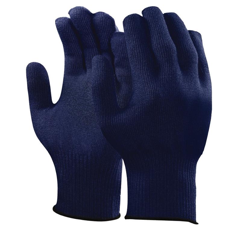 Bomuld/Polyester Handske - Blå uden dotter med elastisk manchet - Størrelse 7