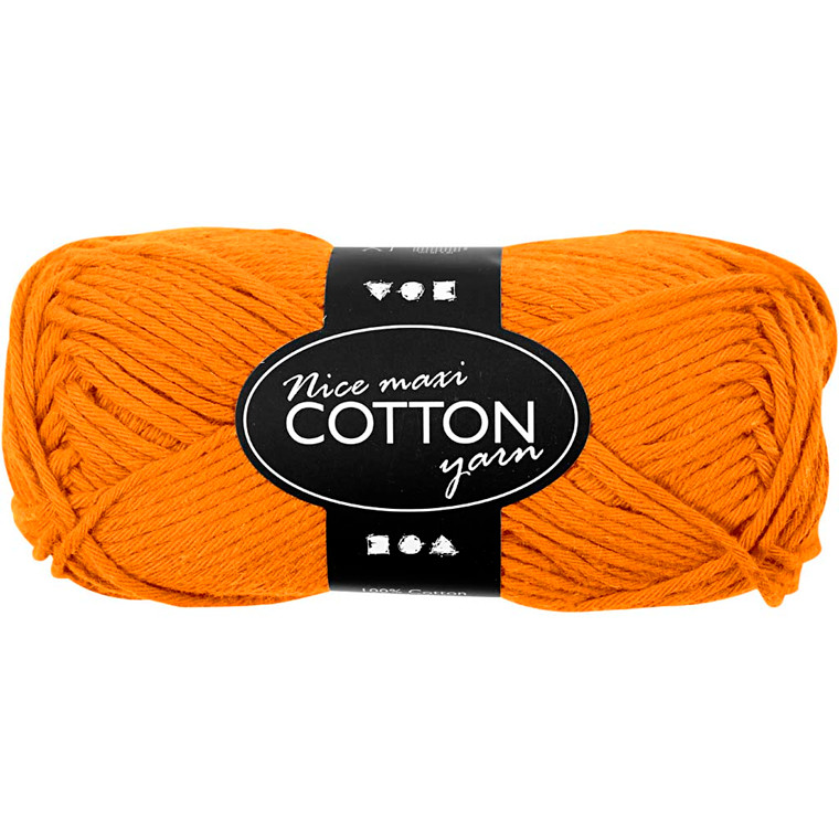 Bomuldsgarn længde 80-85 meter orange maxi - 50 gram