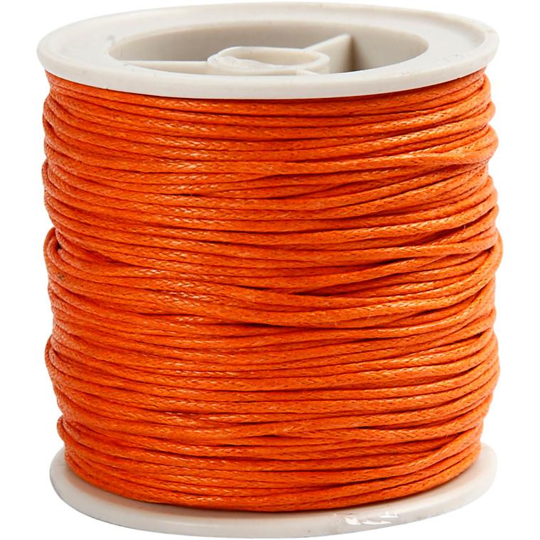 Bomuldssnor, 1 mm, orange, 40m