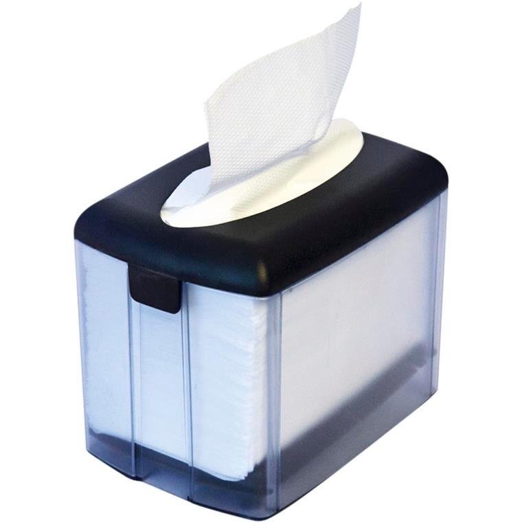 Borddispenser, til interfold servietter, sort/transparent, plast,