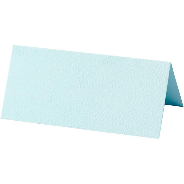 Bordkort, lys blå, str. 9x4 cm, 220 g, 10stk.